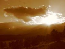 заход солнца горы III утесистый Стоковая Фотография RF