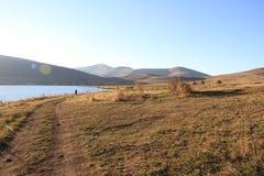 заход солнца горы montenegro озера Стоковое Изображение RF