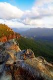 заход солнца гор Австралии голубой Стоковые Фото