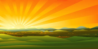 заход солнца гор ландшафта Стоковая Фотография RF