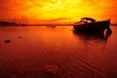 заход солнца Дании шлюпки малый Стоковая Фотография