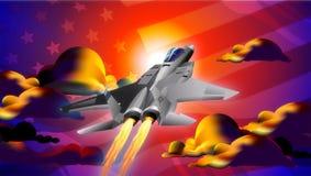 заход солнца двигателя иллюстрации самолет-истребителя Стоковые Фотографии RF