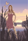 заход солнца девушки бесплатная иллюстрация