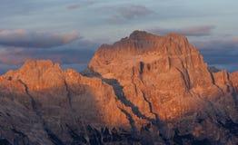заход солнца доломитов Стоковое Изображение