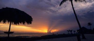 заход солнца Доминиканского Республики bayahibe Стоковое Изображение RF