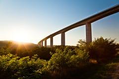 заход солнца дороги моста большой Стоковая Фотография RF
