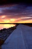заход солнца дороги Стоковые Фотографии RF