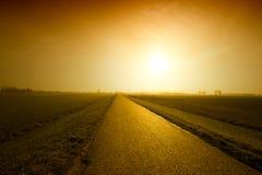 заход солнца дороги Стоковое Изображение RF