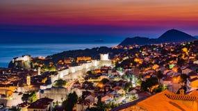 Заход солнца Дубровника в Хорватии Стоковое фото RF