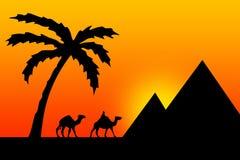 заход солнца Египета иллюстрация вектора