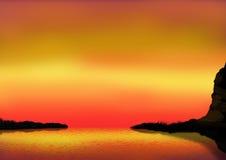 заход солнца залива стоковые изображения