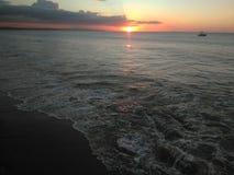 Заход солнца залива Aguadilla Пуэрто-Рико стоковое изображение