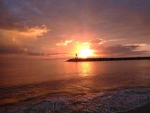 Заход солнца залива Aquadillia Пуэрто-Рико Стоковые Фотографии RF