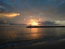Заход солнца залива Aquadillia Пуэрто-Рико Стоковое Фото