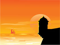 заход солнца замока Стоковая Фотография RF