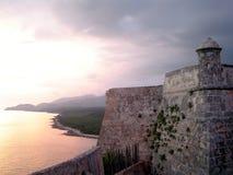 заход солнца замока Стоковые Изображения