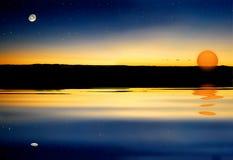 заход солнца звезды стоковые изображения