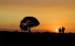 заход солнца звероловства Стоковые Изображения