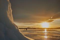 Заход солнца зимы Байкала Стоковое фото RF
