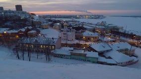 Заход солнца зимы в Nizhny Novgorod России видеоматериал