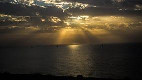 Заход солнца зимы на Apollonia Стоковые Фотографии RF