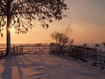 Заход солнца зимы сельскохозяйствення угодье Стоковая Фотография RF