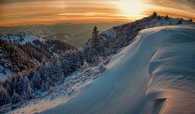 Заход солнца зимы стоковые фотографии rf