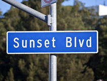 заход солнца знака бульвара Стоковое фото RF