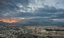 заход солнца Иерусалима Стоковая Фотография RF