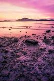 Заход солнца или восход солнца моря в сумерк с красочным неба облака Стоковая Фотография RF