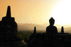 заход солнца Индонесии java borobudur Стоковая Фотография RF