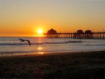Заход солнца и взгляд Калифорнии от пристани Стоковые Фото