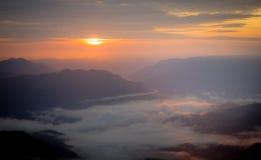 Заход солнца и восход солнца Стоковые Изображения