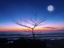 Заход солнца и луна стоковое изображение