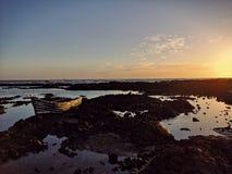 Заход солнца Канарских островов на Лансароте стоковые изображения rf