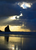 заход солнца карамболя пляжа Стоковое Изображение RF