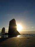 заход солнца карамболя пляжа Стоковое Фото