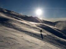 заход солнца катания на лыжах Стоковая Фотография