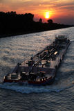 заход солнца корабля Стоковые Изображения RF