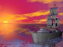 заход солнца корабля Стоковое Изображение RF
