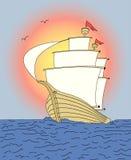 заход солнца корабля Стоковые Фото