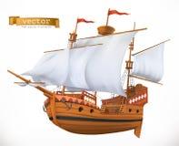 заход солнца корабля sailing ландшафта 3d вектор иконы 3d иллюстрация штока