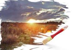 заход солнца красивейшей картины Стоковые Изображения