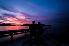 Заход солнца красивого вида стоковые фотографии rf