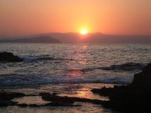 заход солнца Крита Стоковая Фотография