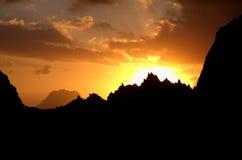 заход солнца кроны Стоковая Фотография RF
