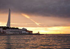 заход солнца Крыма sevastopol залива стоковое изображение rf