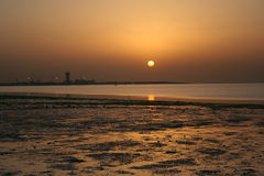 заход солнца Кувейта Стоковое Изображение
