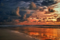 заход солнца лавы bali Стоковая Фотография