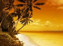 заход солнца лагуны острова Стоковая Фотография